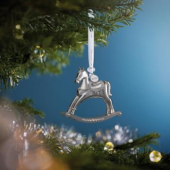 Rocking Horse Silver Ornament 2020